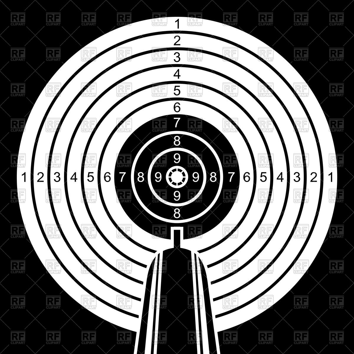 Black and white target and barrel of a gun Vector Image #96833.