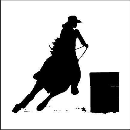 Barrel Racing Silhouette Clipart.