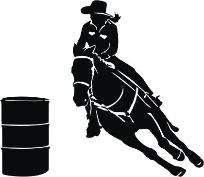 free girl barrel racing silhouette.