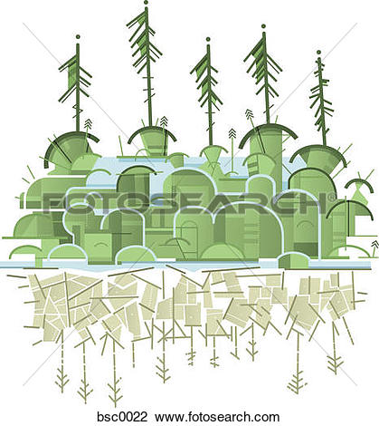 Clip Art of A green forest on an island and a reflection in the.