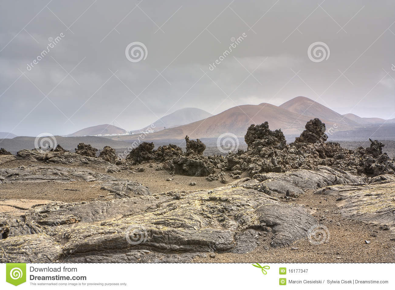 Barren Landscape Of Timanfaya Royalty Free Stock Photography.