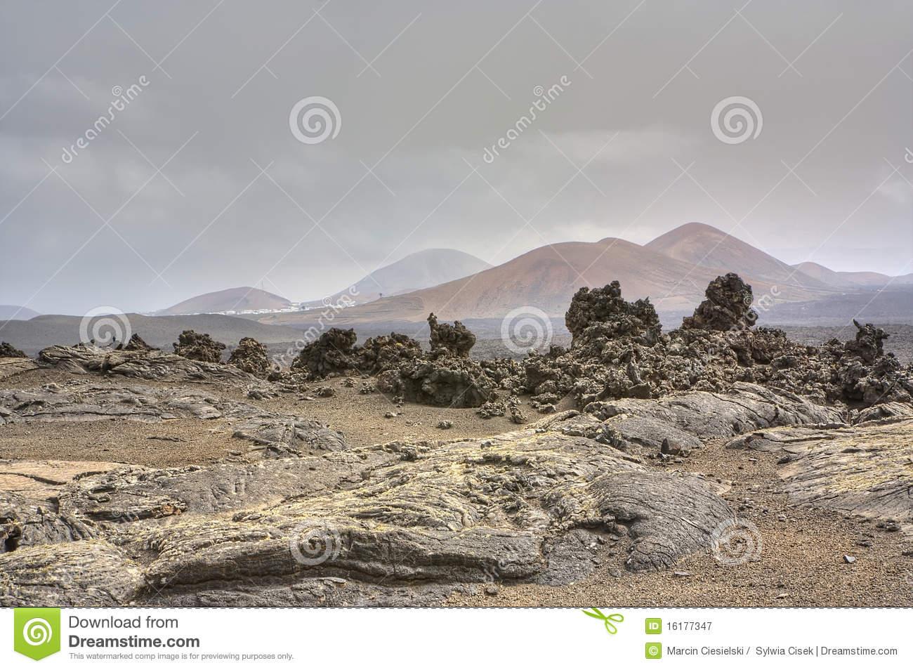 Barren Landscape Of Timanfaya Royalty Free Stock Photography.