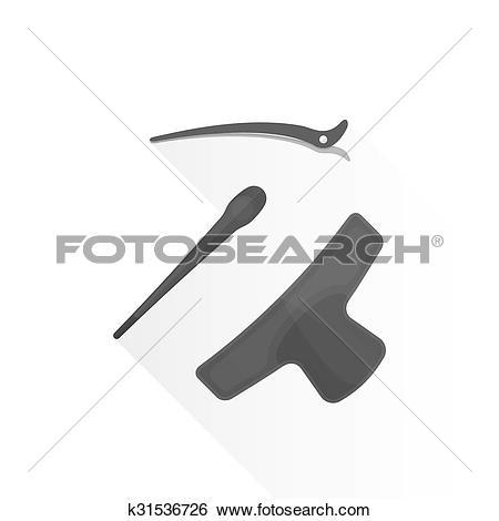 Clip Art of vector flat hairdresser barrettes pins illustration.