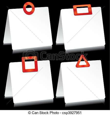 Vector Clip Art of Set of sheets of paper as note pads with red.