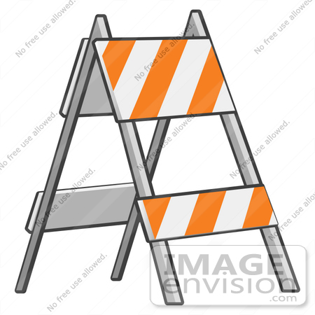 Clip Art Graphic of a Barricade With Orange And White Stripes On.