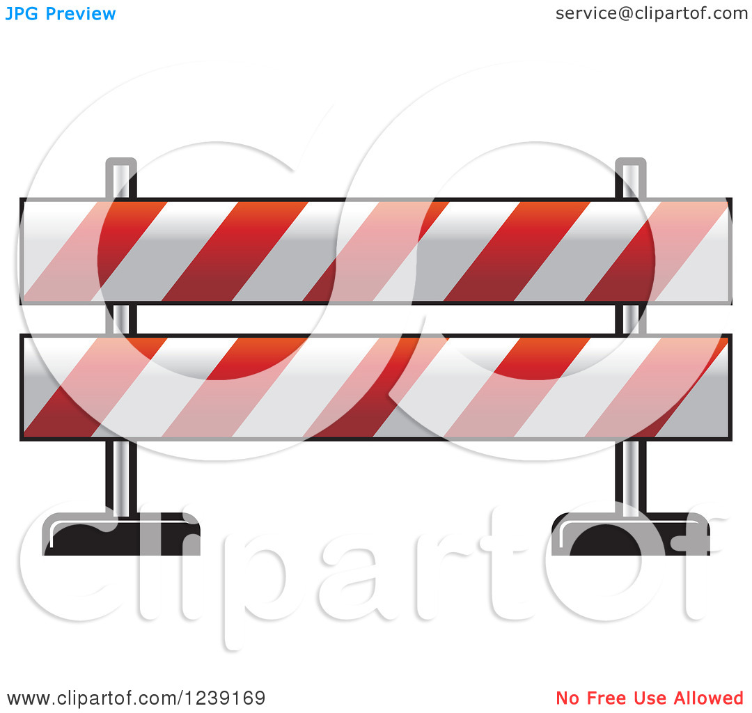 Clipart of a Red and White Road Block Construction Barrier.