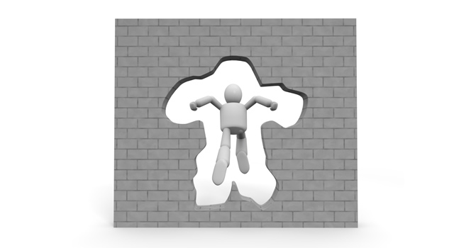 The break is a wall / barrier breakthrough / pierce.
