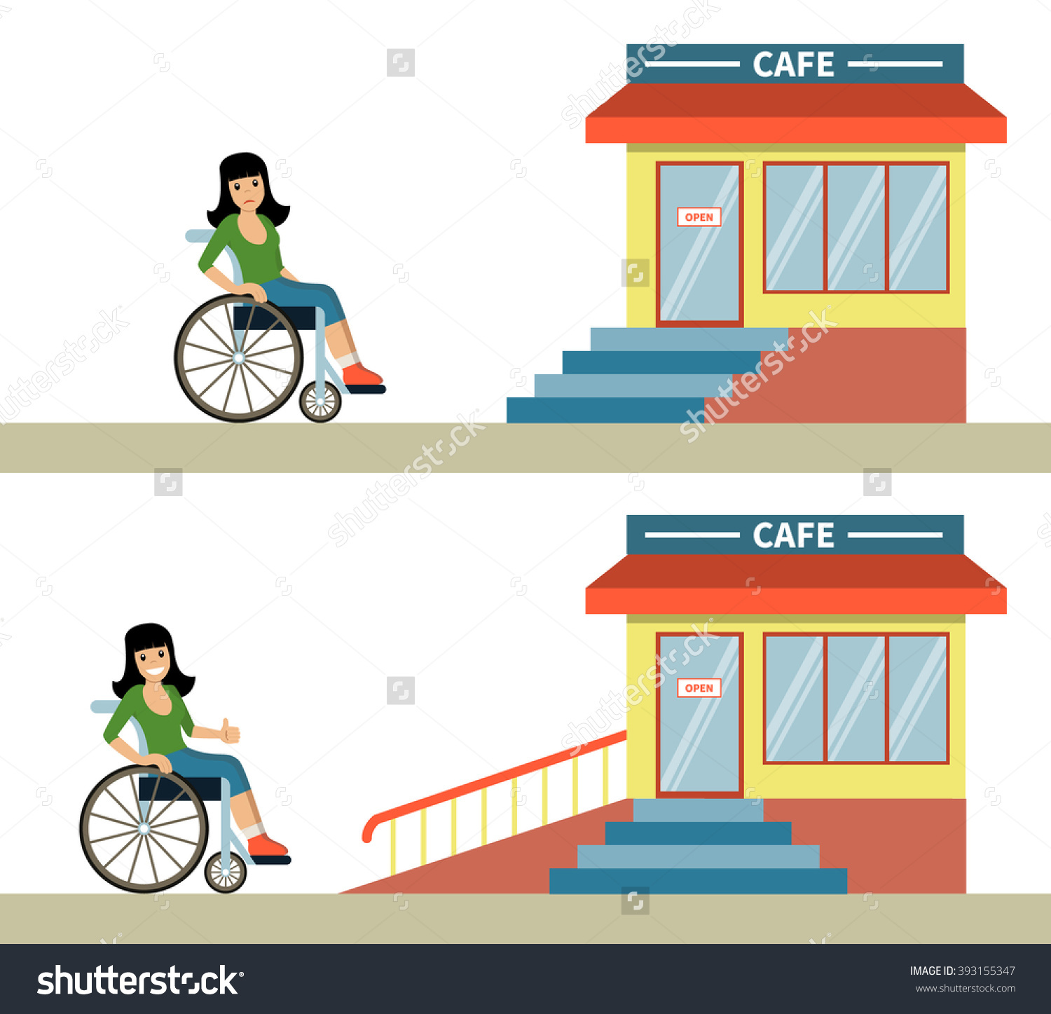 Young Woman Wheelchair Front Cafe Stairs Stock Vector 393155347.
