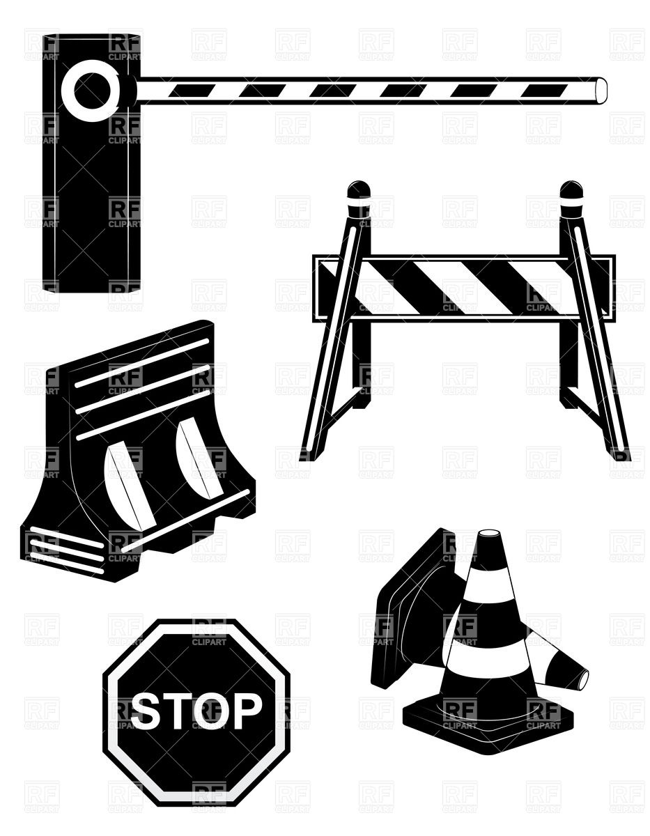 Set of road barrier black.