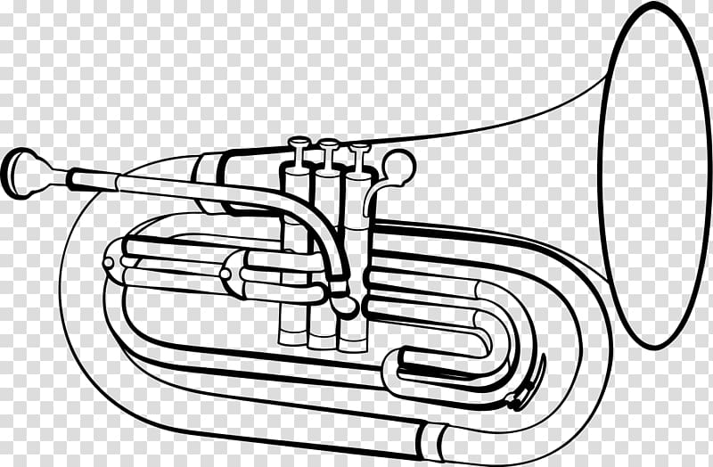 Baritone horn Marching euphonium Drawing Musical Instruments.