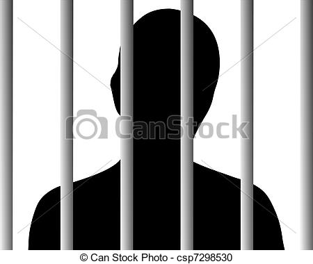 Vector Clipart of Human behind bars csp7298530.