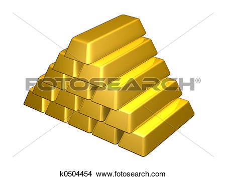 Pure golden bar gold pyramid stack isolated Stock Illustration.