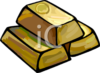 Royalty Free Clipart Image: Gold Bouillon Bars.