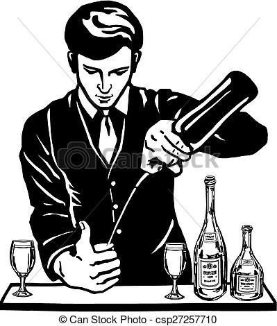 Vector Clip Art of bartender at the bar with bottles.