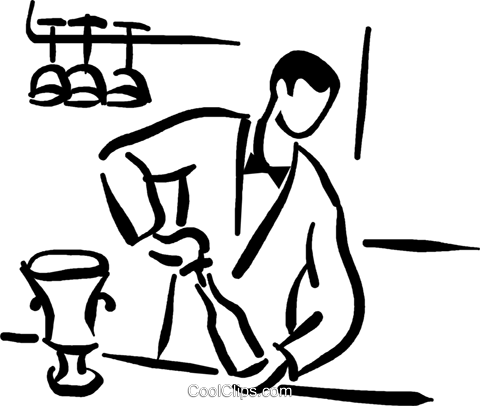 bartender opening champagne Royalty Free Vector Clip Art.
