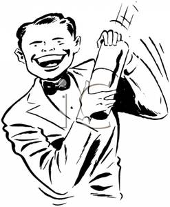 A Black and White Cartoon of a Bartender Making a Drink.