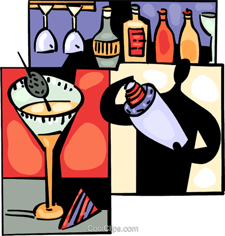 Bartenders Royalty Free Vector Clip Art illustration.