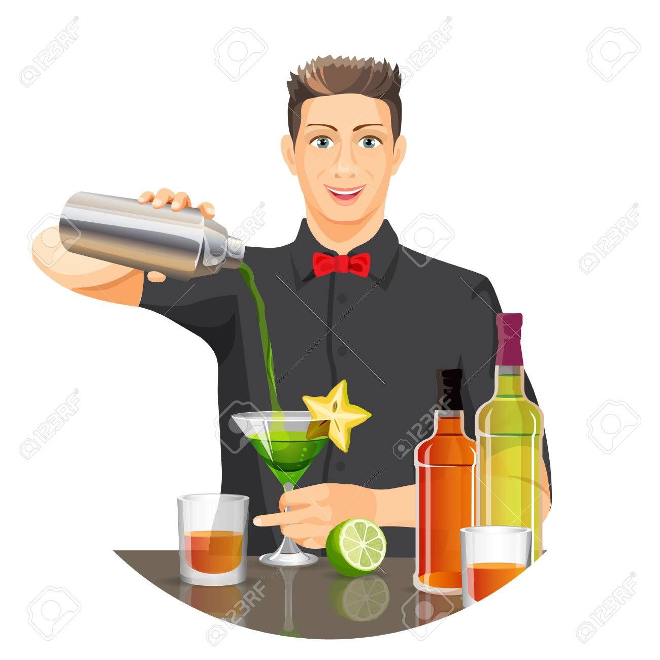 Male bartender making cocktail vector flat realistic picture.