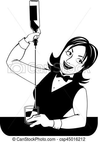 Female bartender working.