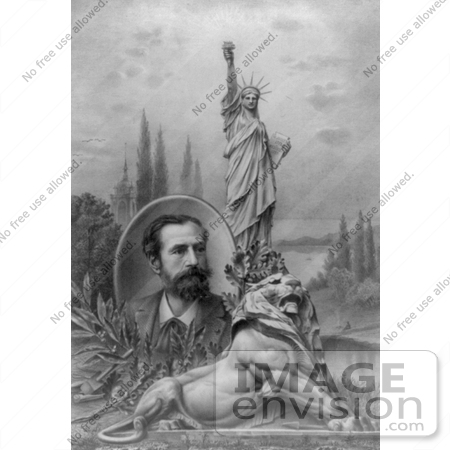 Picture of a Lion, Statue of Liberty and Bartholdi.