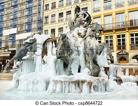 Stock Photo of Frozen fountain.
