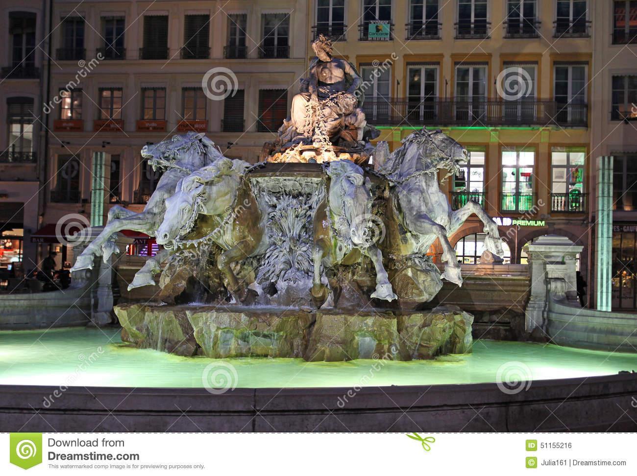 Bartholdi Fountain, Lyon By Night Editorial Photo.