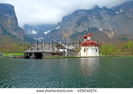 St Bartholomew Church Konigsee Near Munich Stock Photo 129754949.