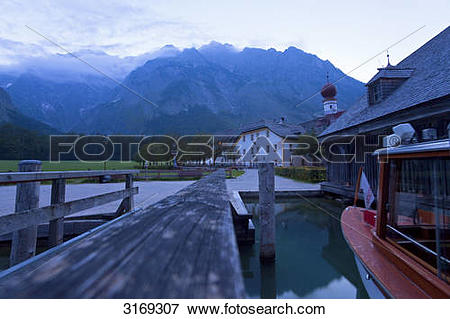 Picture of Inn beside a jetty, church and Watzmann in the.