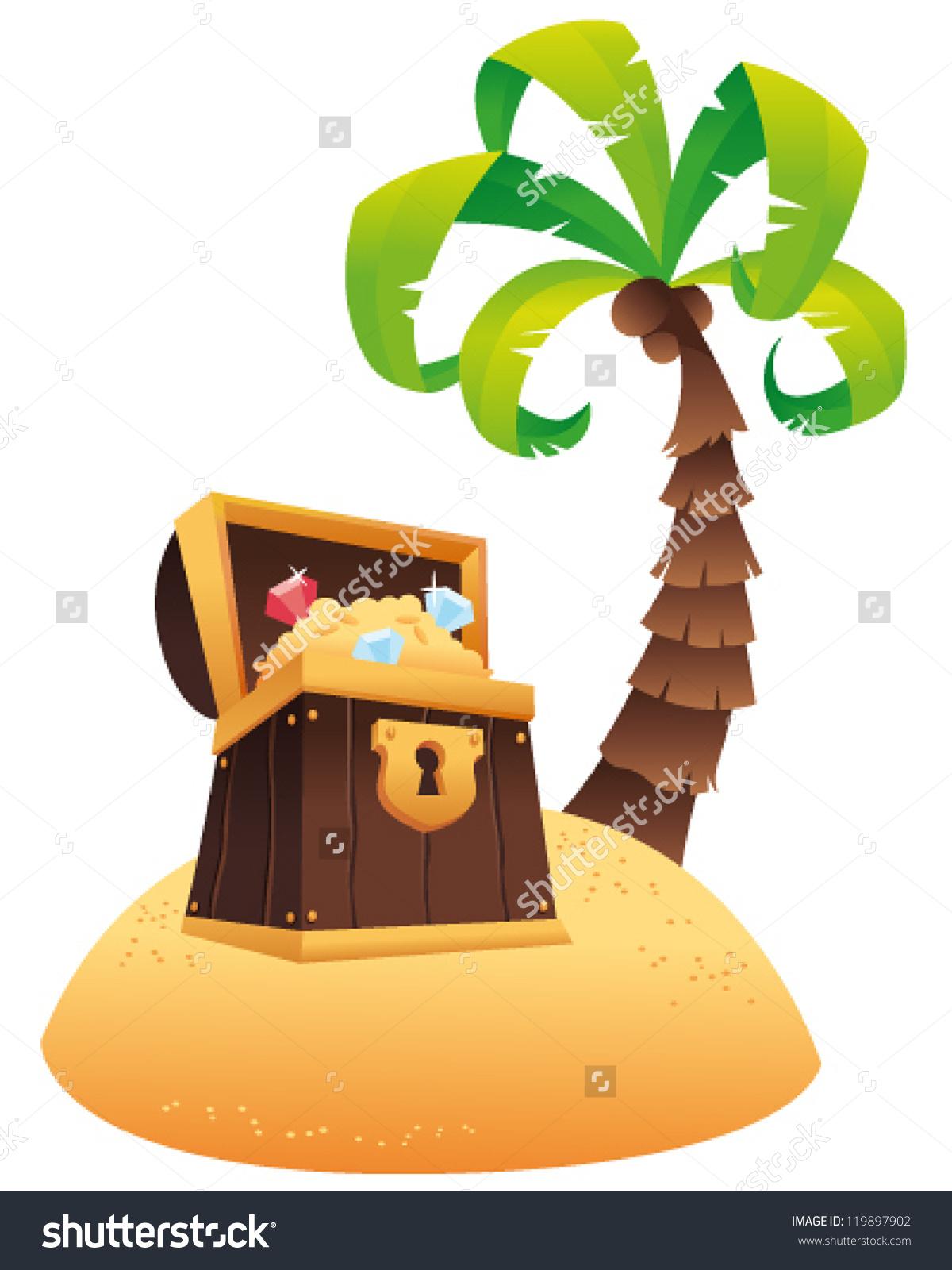 Treasure Chest Palm Tree Island Vector Stock Vector 119897902.
