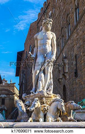 Stock Photography of The fountain of Neptune by Bartolomeo.