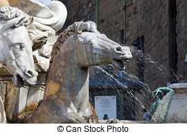 Stock Photography of Fountain of Neptune by Bartolomeo Ammannati.
