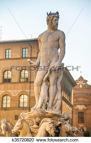 Stock Photography of Neptune fountain in Florence, Italy.