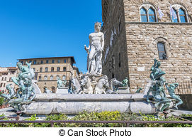 Pictures of Fountain of Neptune by Bartolomeo Ammannati, in the.