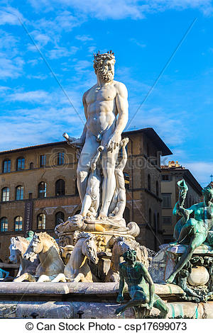 Picture of The fountain of Neptune by Bartolomeo Ammannati, in the.