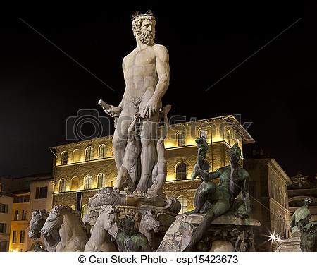 Picture of Neptune Fountain by Batalomeo Ammannati Piazza della.