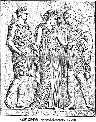 Clip Art of Antiope and his son (bas.