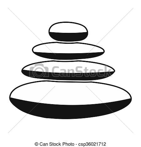Clipart of Zen basalt stones black simple icon isolated on white.