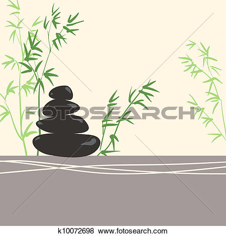 Clip Art of Spa Concept Stylized Zen Basalt Stones with Green.