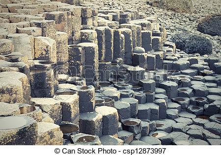 Stock Photographs of Massive black basalt columns of Giant's.