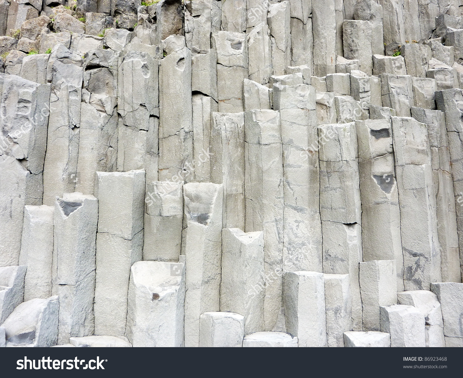 Gray Basalt Column Formation Rocks Iceland Stock Photo 86923468.