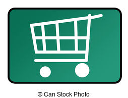 Green shopping trolley. Green environmental shopping cart or.