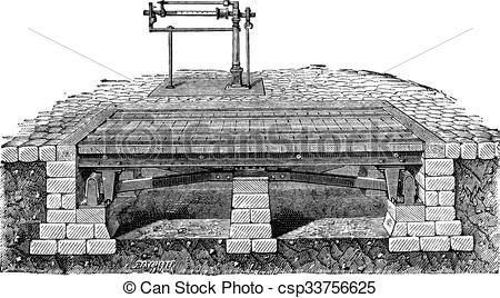Vector Illustration of Bascule bridge or drawbridge vintage.