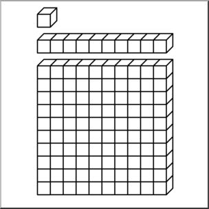 Clip Art: Place Value Blocks 1 B&W I abcteach.com.