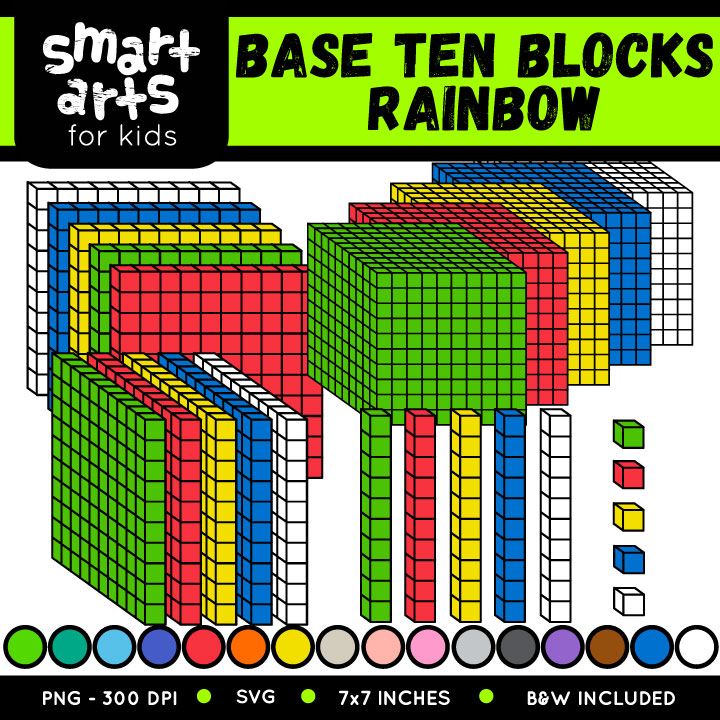 Math Base Ten Blocks Rainbow Clip Art.