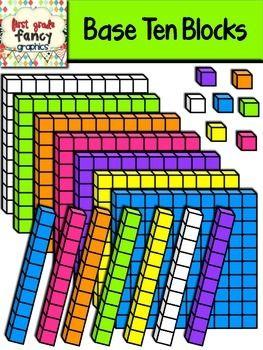 Base Ten Blocks {Colorful Clip Art}.
