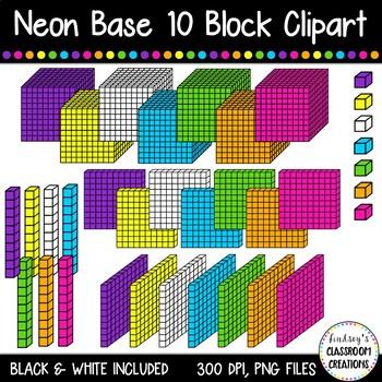 NEON Base Ten Blocks Cube / Place Value Clip Art ~ 35 Images!.