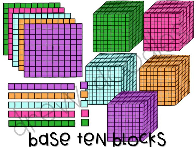 Base Ten Blocks Digital Clip Art Set.
