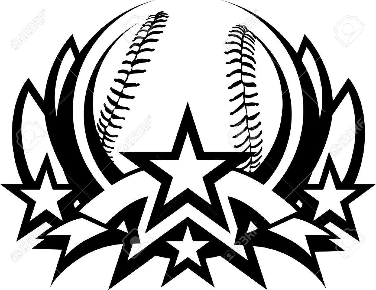 Black and white clipart of all star baseball logos.