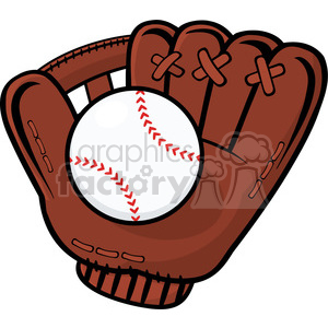 royalty free rf clipart illustration baseball glove and ball vector  illustration isolated on white background . Royalty.