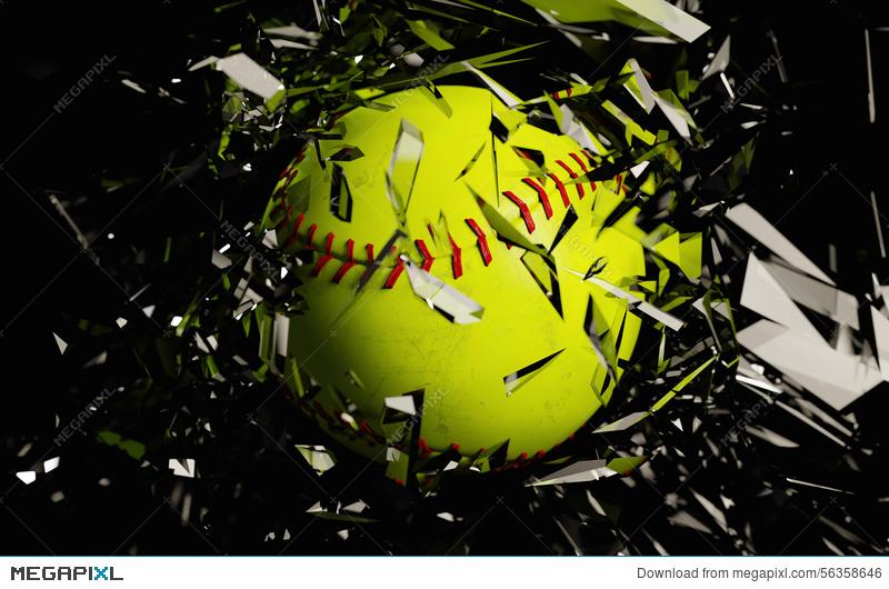 Yellow Softball Breaks Glass Close Up Illustration 56358646.